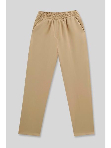 Pocket Elastic Waist Trousers    - Beige