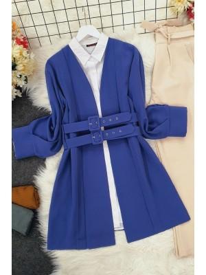 Double Strap Front Pleated Jacket -İndigo