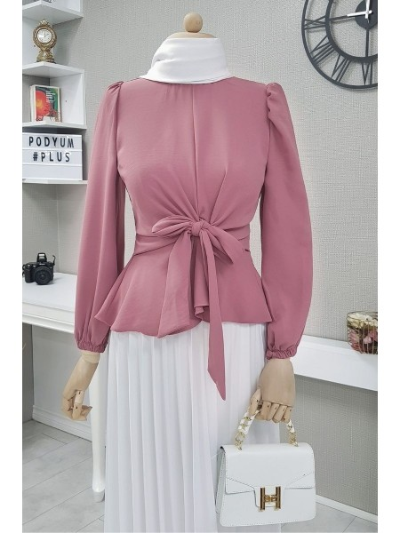 Front Tie Blouse -Dried rose