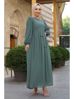 Sleeves Pleated Detailed Front Cup Chiffon Dress -Mint Color