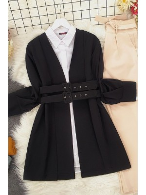 Double Strap Front Pleated Jacket -Black