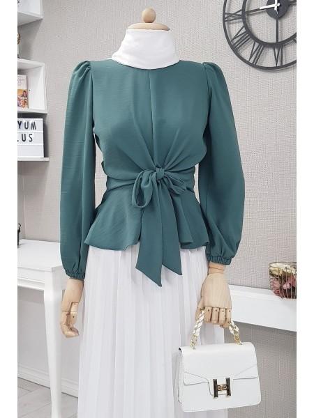Front Tie Blouse -Emerald