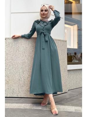 Lace-Up Long Dress -Emerald