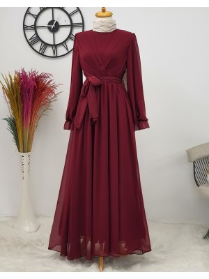 Long Chiffon Dress With Elastic Sleeves and Pleated Front -Maroon