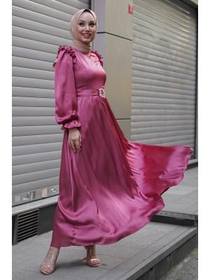Ruffle Detailed Stone Belt Dress on Shoulders -Dried rose