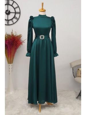 Ruffle Detailed Stone Belt Dress on Shoulders -Emerald