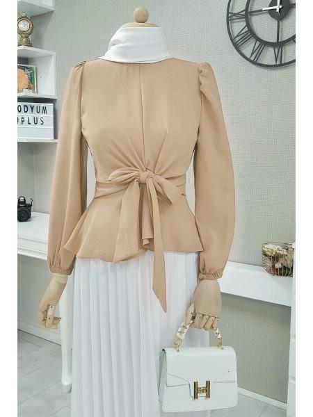 Front Tie Blouse  -Mink color