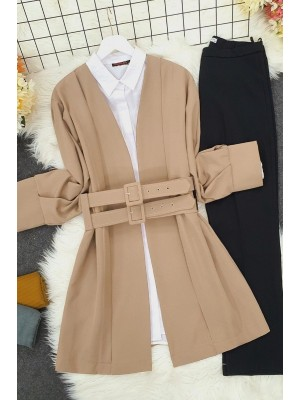 Double Strap Front Pleated Jacket -Stone