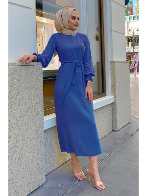 Pearl Detailed Long Dress with Stones on the Sleeves -Blue