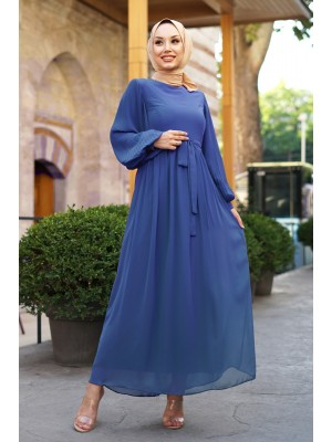 Sleeves Pleated Detailed Front Cup Chiffon Dress -İndigo