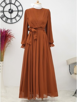 Long Chiffon Dress With Elastic Sleeves and Pleated Front -Snuff