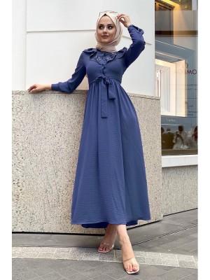 Lace-Up Long Dress -İndigo