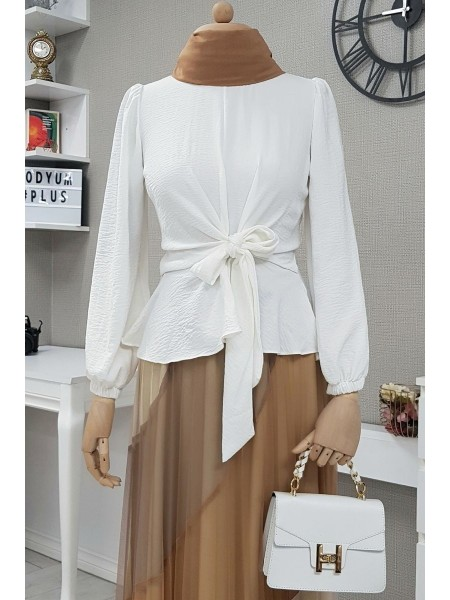 Front Tie Blouse -White