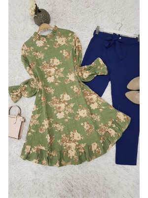 Gathered Collar Frilly Tunic -Green