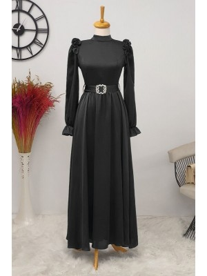 Ruffle Detailed Stone Belt Dress on Shoulders -Black