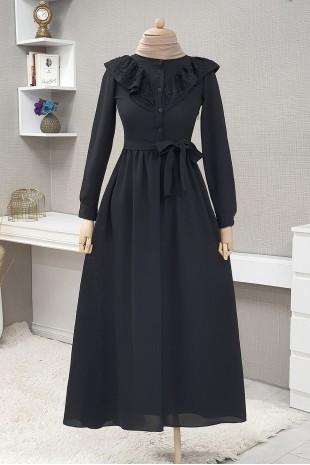 Yakası Güpürlü Uzun Elbise -Siyah