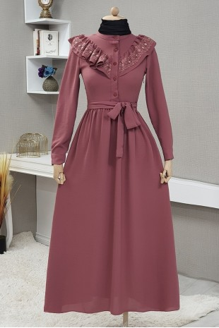 Yakası Güpürlü Uzun Elbise -Gül Kurusu