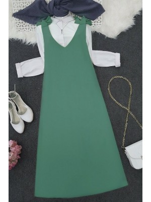 Long Gilet With Tied Shoulders   -Mint Color