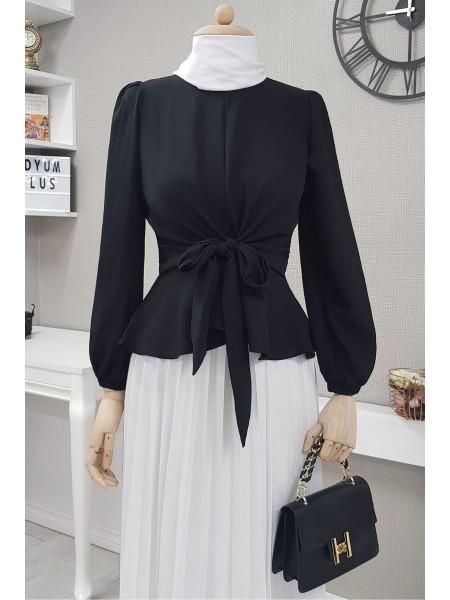 Front Tie Blouse -Black