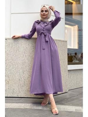 Lace-Up Long Dress -Lilac