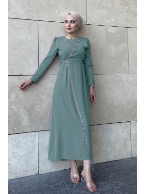 Stone Detailed Waist Tie Dress -Green