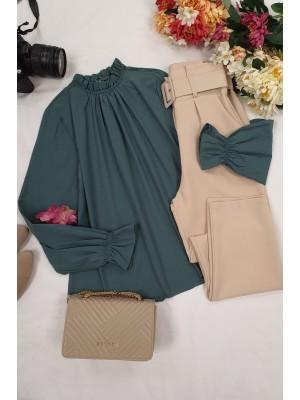 Pleated Collar Blouse -Emerald