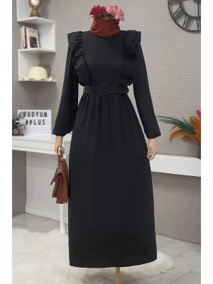 Front Frilly Belt Dress -Black