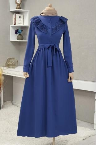 Yakası Güpürlü Uzun Elbise -İndigo