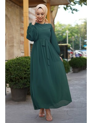 Sleeves Pleated Detailed Front Cup Chiffon Dress -Emerald