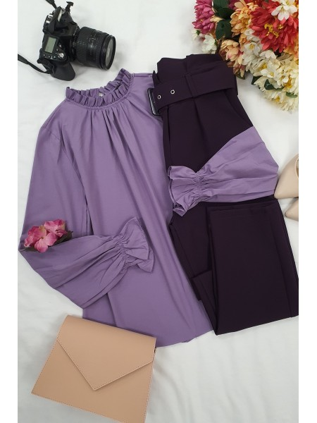 Pleated Collar Blouse -Lilac