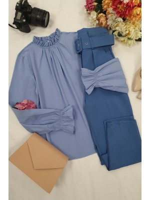 Pleated Collar Blouse -Blue