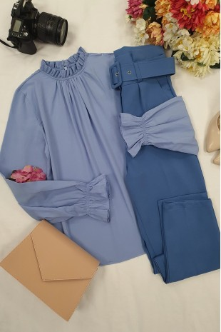 Yakası Büzgülü Bluz -Mavi