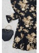 Gathered Collar Frilly Tunic -Black