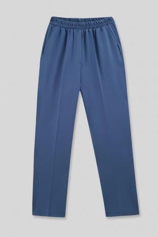 Cepli Beli Lastikli Pantolon  -İndigo