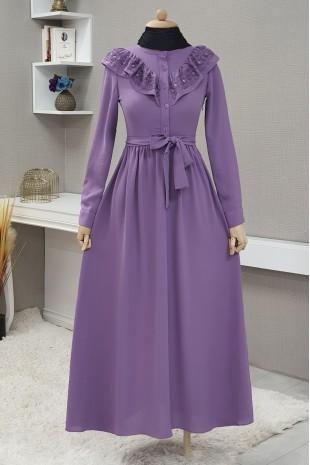 Yakası Güpürlü Uzun Elbise -Lila