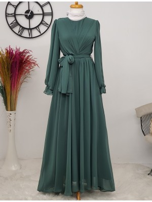 Long Chiffon Dress With Elastic Sleeves and Pleated Front -Green