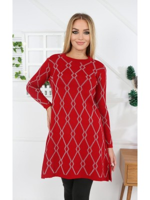 Crew Neck Silvery Patterned Knitwear Tunic -Red