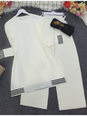 Skirt and Sleeve Striped Slit Knitwear Set -White