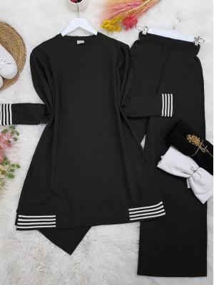 Skirt and Sleeve Striped Slit Knitwear Set -Black