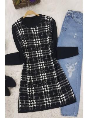 Checkered Crowbar Tricot Tunic -Black