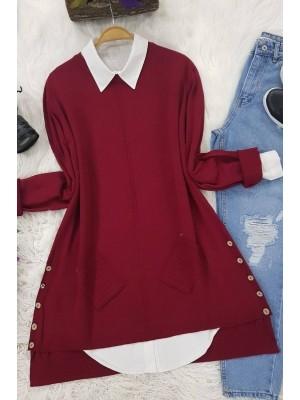 Buttoned Side Pocket Knitwear Tunic -Maroon