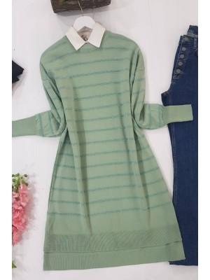 Pearl Silvery Striped Knitwear Tunic -Mint Color