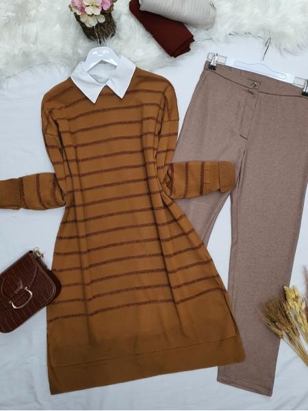 Pearl Silvery Striped Knitwear Tunic -Snuff