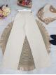 Wide Leg Elastic Waist Knitwear Trousers -Stone