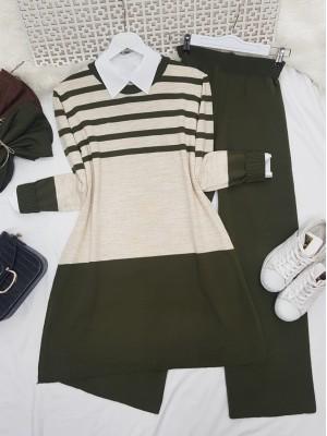 Top Striped Slit Loose Knitwear Set -Khaki