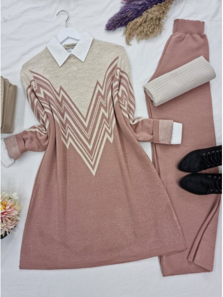 Front and Sleeves Patterned Slit Knitwear Tunic -Powder