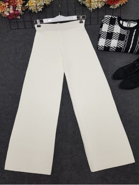 Wide Leg Elastic Waist Knitwear Trousers  -White