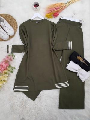 Skirt and Sleeve Striped Slit Knitwear Set -Khaki