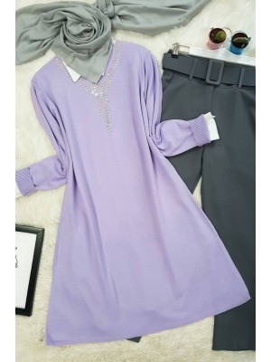 V Neck Big Stone Knitwear Tunic -Lilac