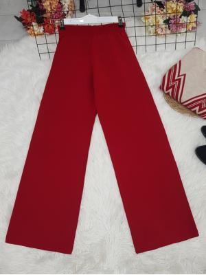 Wide Leg Elastic Waist Knitwear Trousers -Red